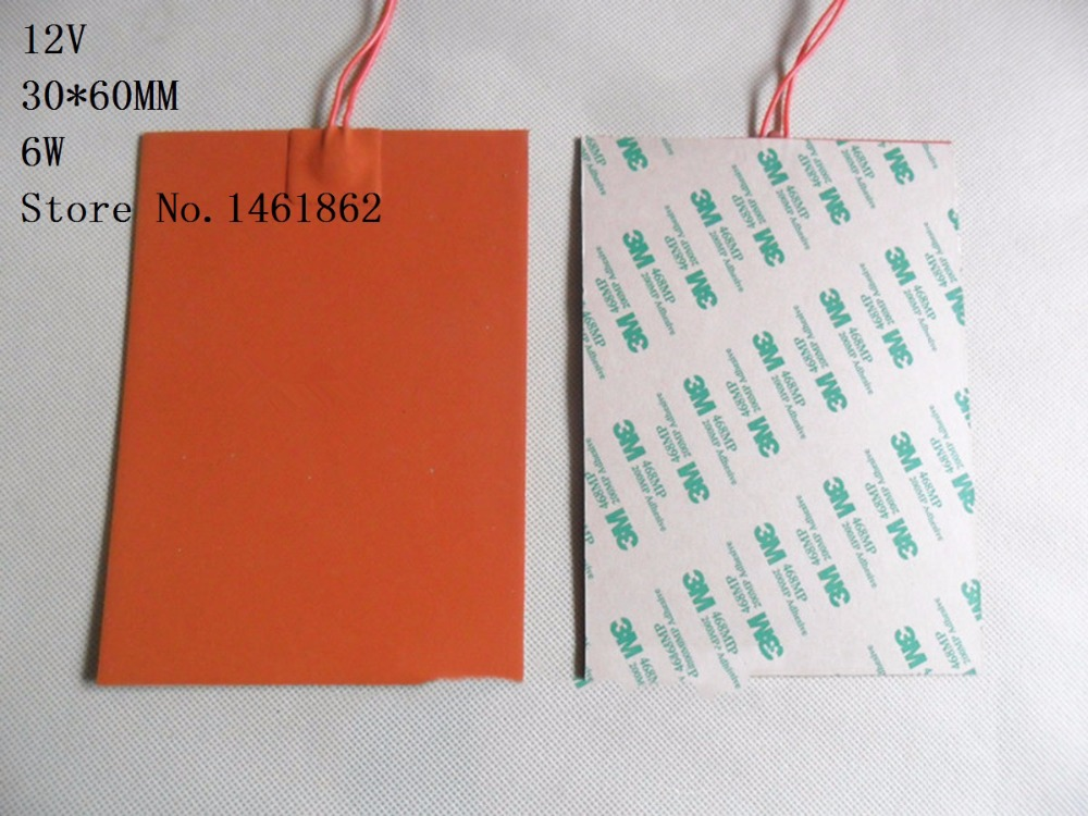 30x 60mm 6W 12V Silicone Heater mat Heating Element heating plate 3M high temperature resistant adhesive Electric heating pad купить