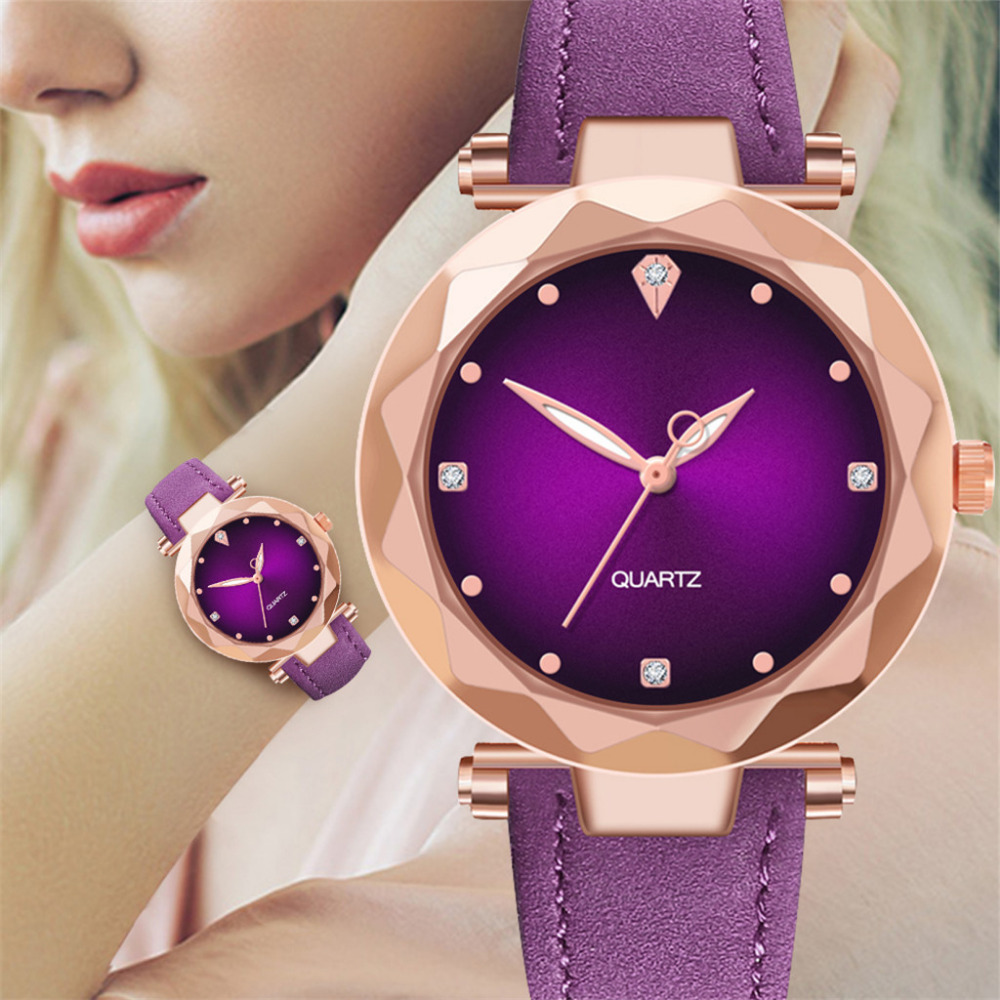 Hot Sale Ladies Watch Women's Watches Crystal Dial Purple Leather Quartz Wrist Watch Top Luxury Brand Relogio Feminino Clock(China)