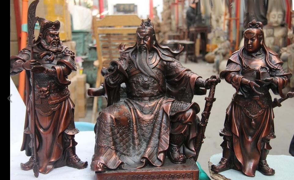 Bronze Copper Three Kingdoms Guan Ping Zhou Cang Guan Gong Guan Yu warrior Set