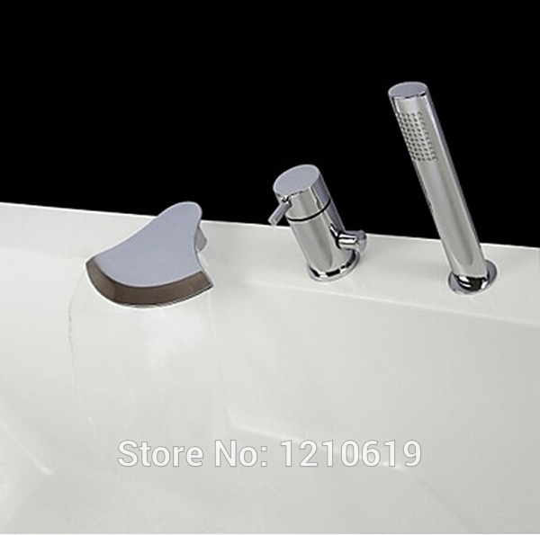 Newly Chrome Finish Bathroom Tub Faucet Set Deck Mount Bathtub Faucet w Handheld Waterfall Spout Single