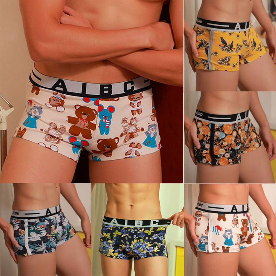 HOT Fashion Mens Sexy Underwear Shorts Underpants Cartoon Prints Comfortable Soft Cotton Boxers Panties For Men Drop Shipping ...