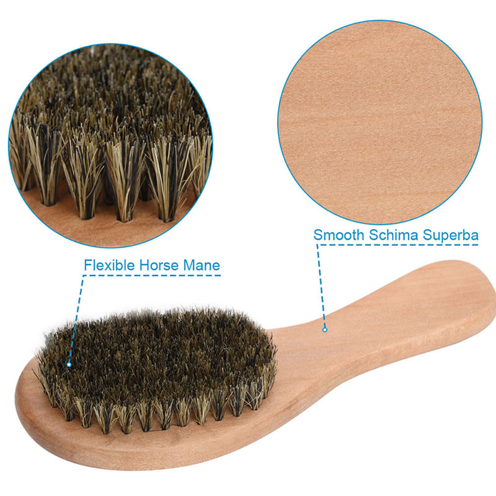 Horsehair Wood Brush 7.1 Shine Shoe Brushes with Horse Hair Bristles for Boots Shoes Other Leather Care