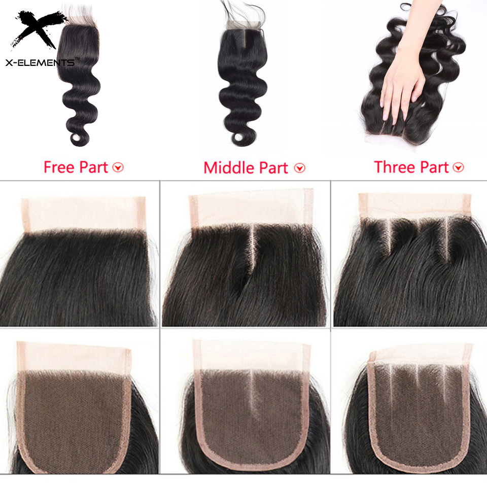 X-Elements Hair 4x4 Lace Closure Body Wave Hair Weaves Non-Remy Brazilian Human Hair Extensions Natural Color Swiss Lace Closure (11)