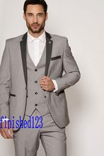 Popular Style One Button Light Grey Groom Tuxedos Groomsmen Men's Wedding Prom Suits Bridegroom (Jacket+Pants+Vest) K:1133