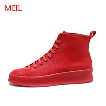 цены New Red Mens Shoes Casual Genuine Leather Shoes Men High Top Lace Up  Footwear Sneakers Men Male Shoes Chaussure Homme Cuir