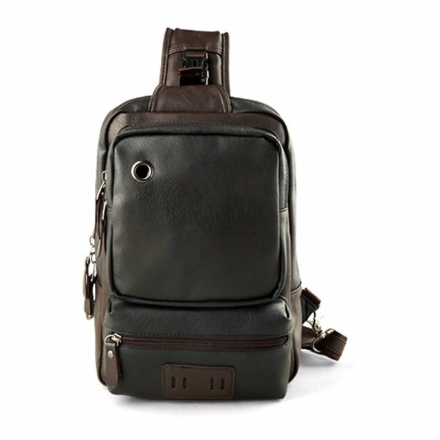 24e808ccc7 Trendy Men PU Leather Satchel Bag Chest Bag Casual Crossbody Bag Cool  Single Shoulder Bag Male