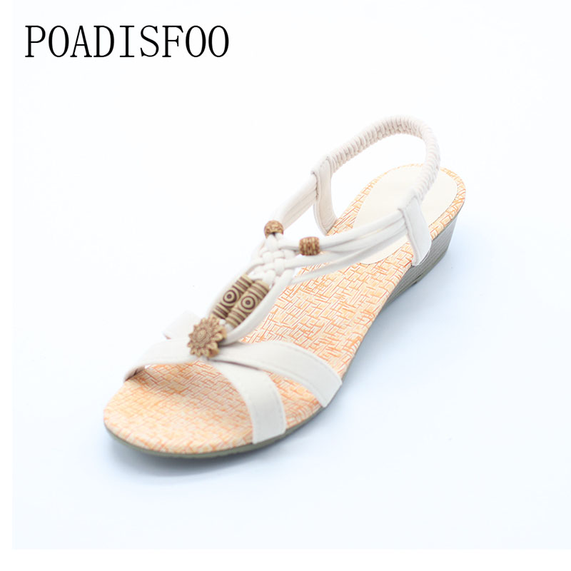 POADISFOO 2017 Bohemian Women Summer  Sandals low Heel Flip  Shoes With Sunflower Beads Flat Shoes  Size 36-40 .HYKL-1503 poadisfoo 2017 new ethnic women s shoes bohemian diamond slope with a large summer sandals zapatos mujer jxf 6662b