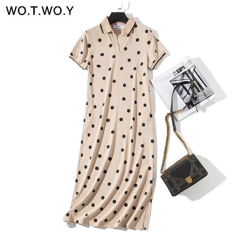 WOTWOY Summer Polo Shirt Dress Women Dot Print Plus Size Loose Cotton Maxi Dresses Pocket Short Sleeve Black Apricot Long Dress 4