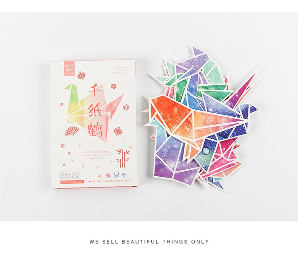 30 pcs Beautiful origami cranes Heteromorphism Postcard Valentine\'s ...