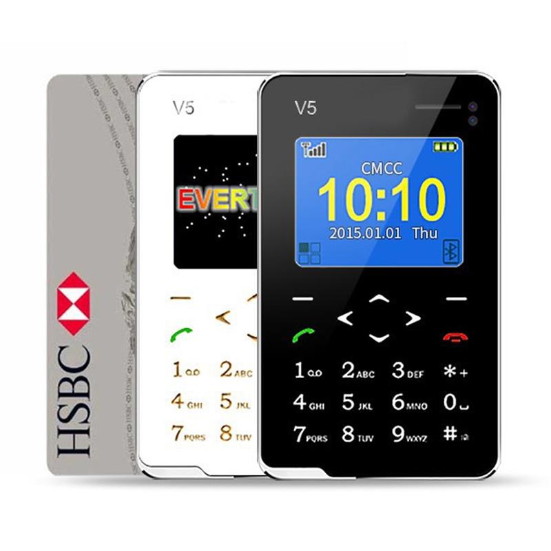 New Item Ultra Thin AIEK V5 Card Phone Pocket Mini Phone Touch Keyboard Quad Band Multi