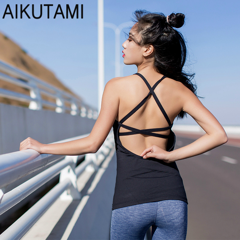 Workout Tops for Women Sport Shirt Sexy Bandages Backless Elastic Quick Drying Vest Yoga Shirt Sport Top Fitness Gym Tank Top stylish double strap printed quick drying sport tank top for women