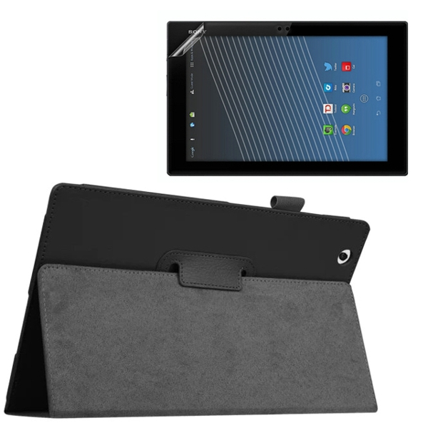 1x Clear Screen Protector , Luxury Folio Stand Leather Case Protective Cover For Sony Xperia Z4 Tablet Ultra 10.1 SGP771 SGP712
