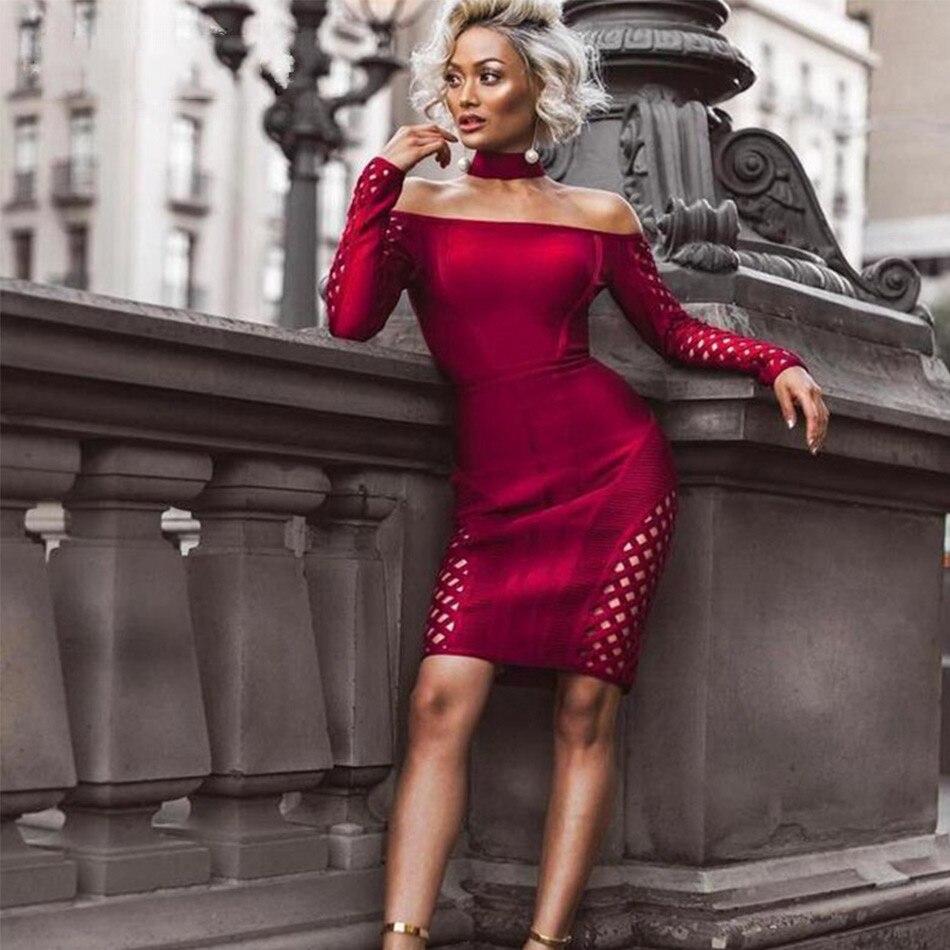 e26e39c1558 Rouge Robes Soirée Moulante Manches Bandage Piste Robe Clubwear À Femmes  Mini Halter Sexy Évider 2018 Longues ...