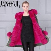 Mitilary green fox fur jacket for women long style fur jacket 2016 winter warm padded coat