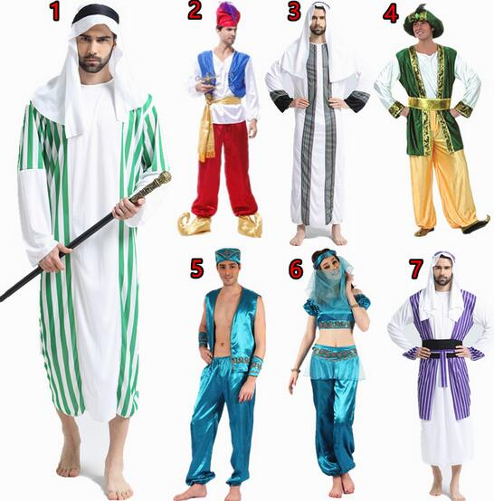 2016 Hot Halloween clothes Christmas masquerade Arab sheikh prince king princess Dress carnival cosplay costume for men woman