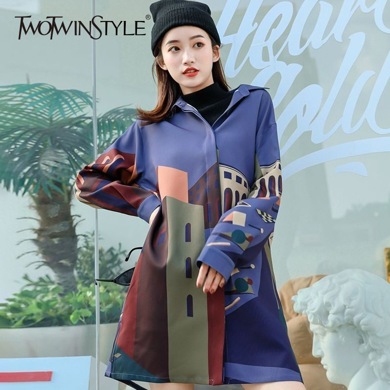 ed530e5ff54 Detail Feedback Questions about TWOTWINSTYLE Printed Building Women s Shirt  Dress Lapel Long Sleeve Oversize Dresses Female Casual Fashion 2018 Autumn  Big ...