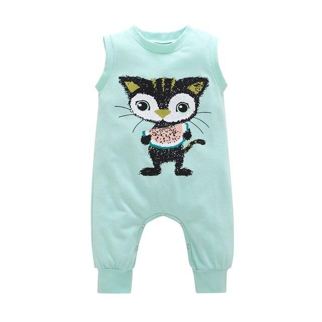 afe0315b3923 2018 New Newborn Baby Boys Girls Romper Cat Printed Short Sleeve ...