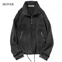 MUSVER Jean Jackets For Men 2018 New Winter Casual Print Hip Hop Men Wash Water Pullover