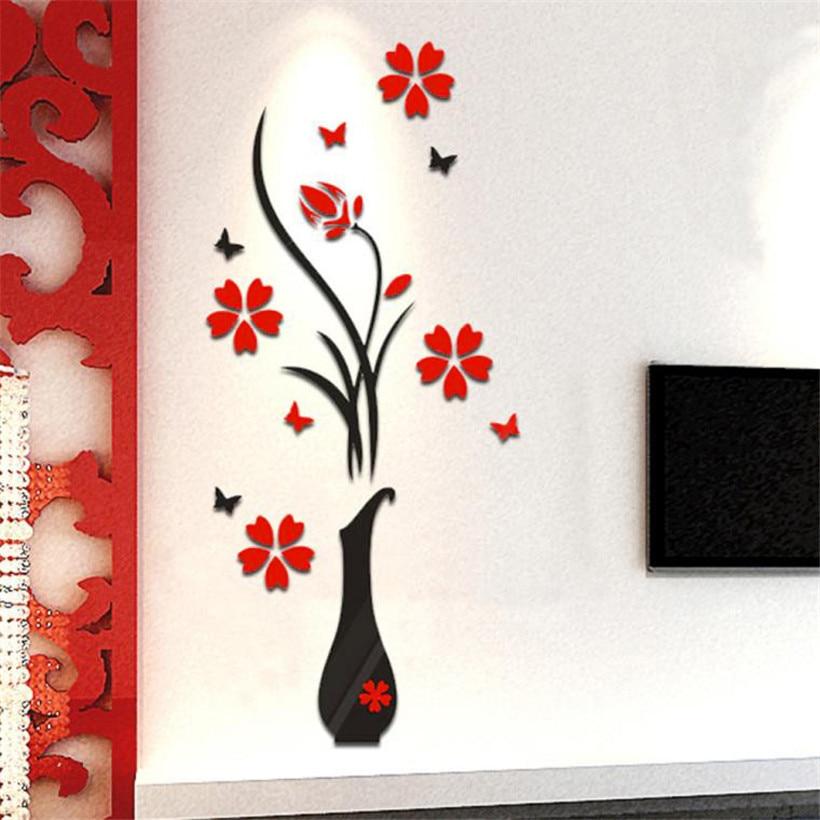 ₩Cristal acrílico 3D Adhesivos de pared etiqueta DIY patrón de flor ...