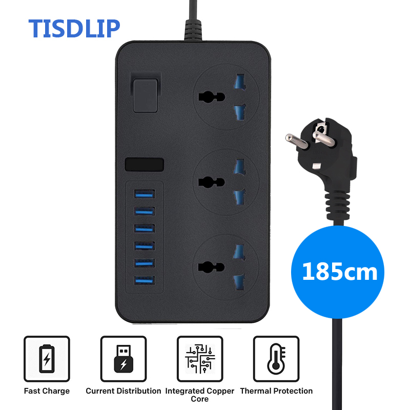 TISDLIP Electric Extension Power Strip Surge Protector with 3 Socket 6 USB Port Universal Socket Plug Extension socket with EU Extension Socket     - title=