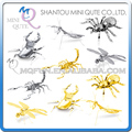 Mini Qute Piece Fun 3D animal insect Mantis Scorpion Stag Beetle Tarantula Dragonfly Metal Puzzle adult models educational toy