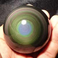 40mm Natural cat's eye effect obsidian stone ball of high quality feng shui home decoration ball preferred