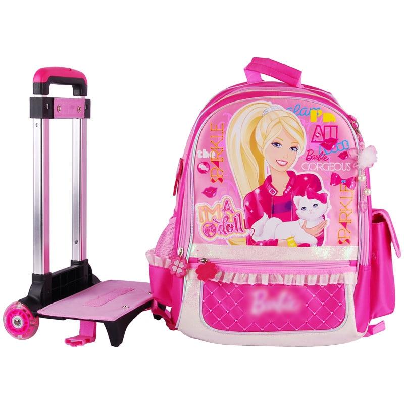 Online Shop Barbie cartoon trolley/wheels school bag with ...