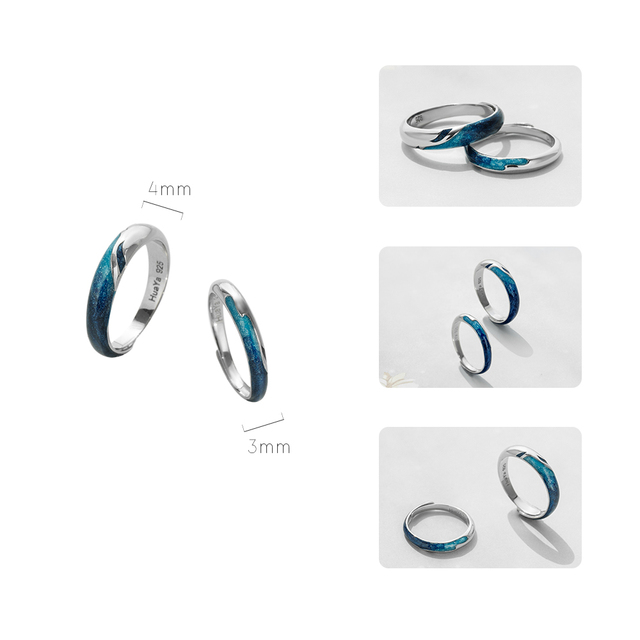 Thaya Bright Shining River Emerald Rings s925 Silver Circular Soft Blue Romantic Jewelry Ring for Women