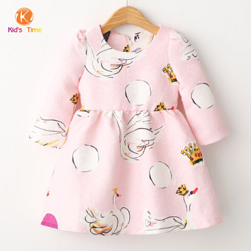 7374e817744aa Girls Winter Dress 2015 Brand New Autumn Baby Girl Dresses Character  Pattern swan Children Dress Kids Clothes Girls Dress