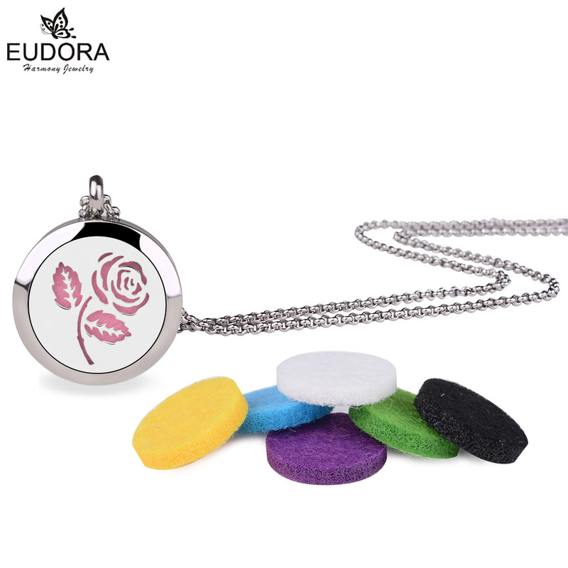 5PCS Charm Rose Floral Stainless Steel Perfume Cage 30mm Essential Oil Diffuser Aromatherapy Locket Pendant with Chain Felt Pad