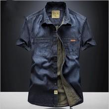 Рубашка мужская джинсовая с коротким рукавом, Повседневная Свободная блуза из денима, однотонная, размеры XXXL 4XL, лето 2018
