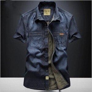 Image 1 - Casual Shirts Solid  High Quality Summer Denim Shirt Men Short Sleeve Casual Shirts Loose Plus Size XXXL 4XL 2018 New