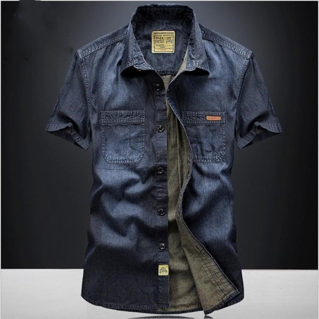 Casual Shirts Solid  High Quality Summer Denim Shirt Men Short Sleeve Casual Shirts Loose Plus Size XXXL 4XL 2018 New