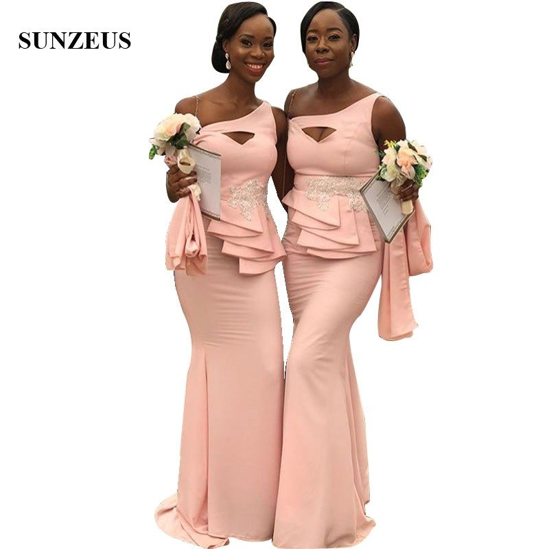 Jurken Lang Mermaid One Shoulder Pink   Bridesmaids     Dresses   Long African Women Party Gowns With Appliques abito damigella