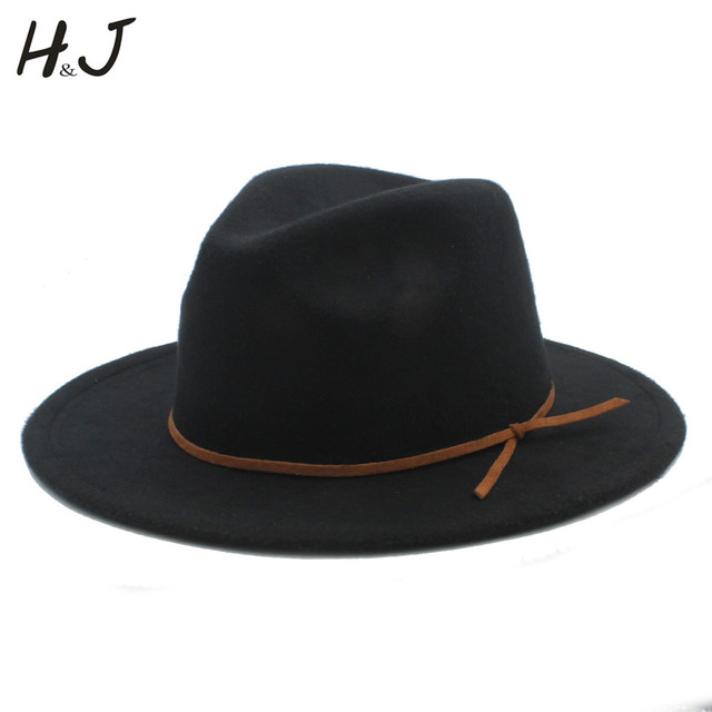 2017 Fashion Women Men Wool Fedora Hat For Gentleman Elegant Lady Floppy  Cloche Wide Brim Jazz Church Godfather Sombrero Cap c146aac85f3