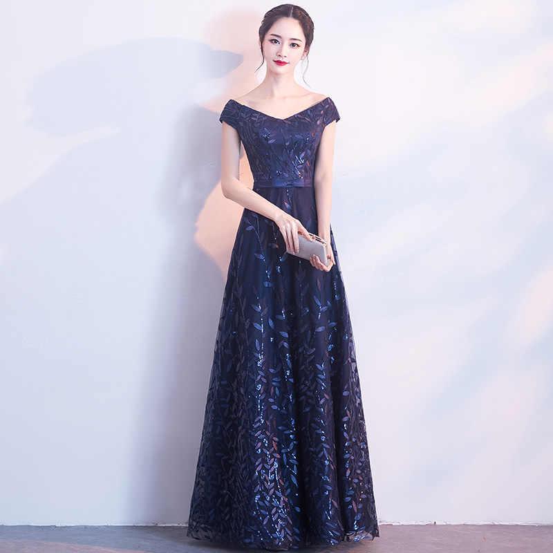 194154ef1c6 ... Aswomoye 2018 Новый стильный длинное вечернее платье сексуальное Платья  для вечеринок A-Line Платья Блёстки