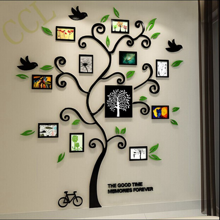 3D Crystal Acrylic Three Dimensional Family Tree Photo Frame Wall Stickers  , Acrylic 3d Frame Family Tree Home Decoration ,YK2