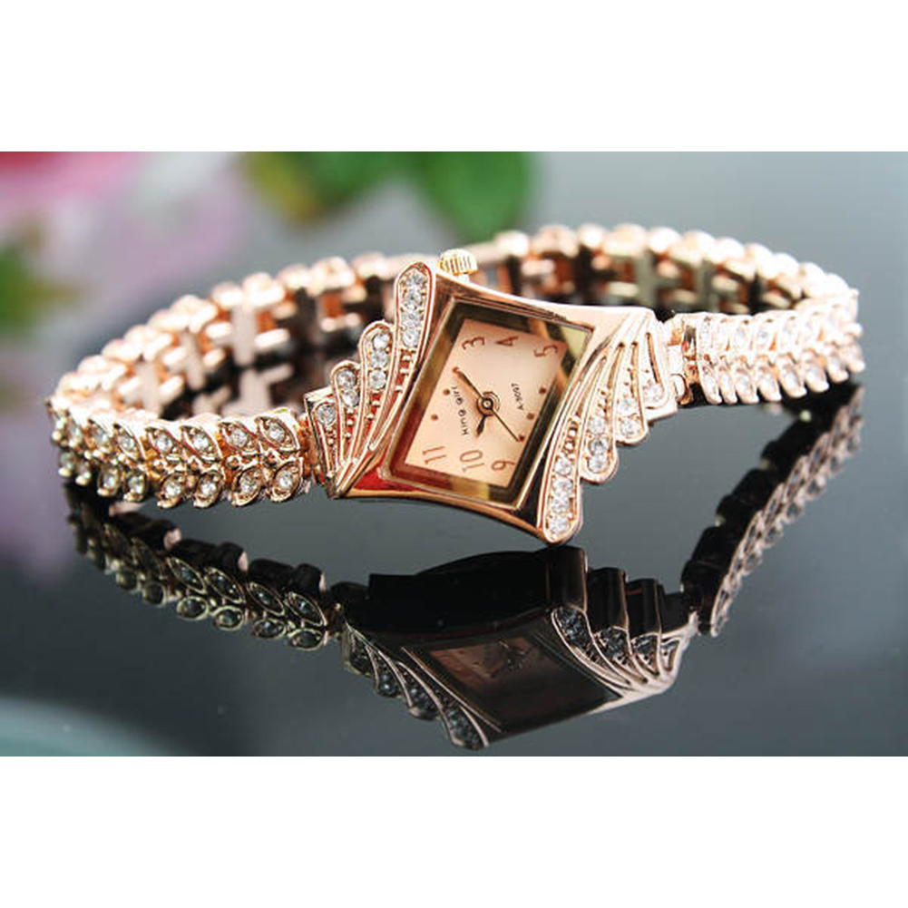 Nueva Moda Mujer Reloj de Negocios Pulsera Rhinestone Oro Rosa - Relojes para mujeres