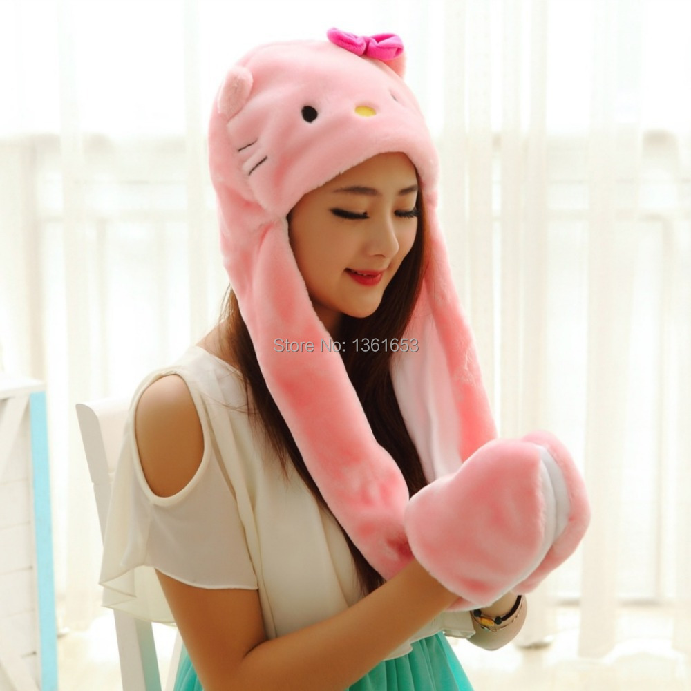 Winter hat hello kitty pink hat  animal plush hat Cosplay costumes Halloween Christmas gift Warmth hat