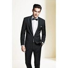wedding black tuxedo for men formal wear 2017 custom made suit groom slim fit dress