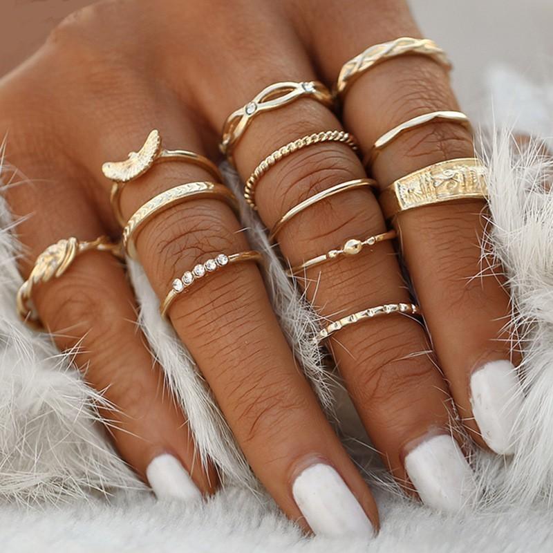 10pcs1 2 pçs/set Bohemia Mulheres Anéis Moda Lua de Cristal do Metal Da Coroa Do Partido Jewely Set Anel Para Mulheres Jóias presentes para mulheres