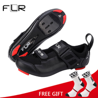 FLR Professional Triathlon Cycling Road Self Lock Shoes Ultralight Breathable Highway Bicycle Shoes Racing Athletic Bike Shoes