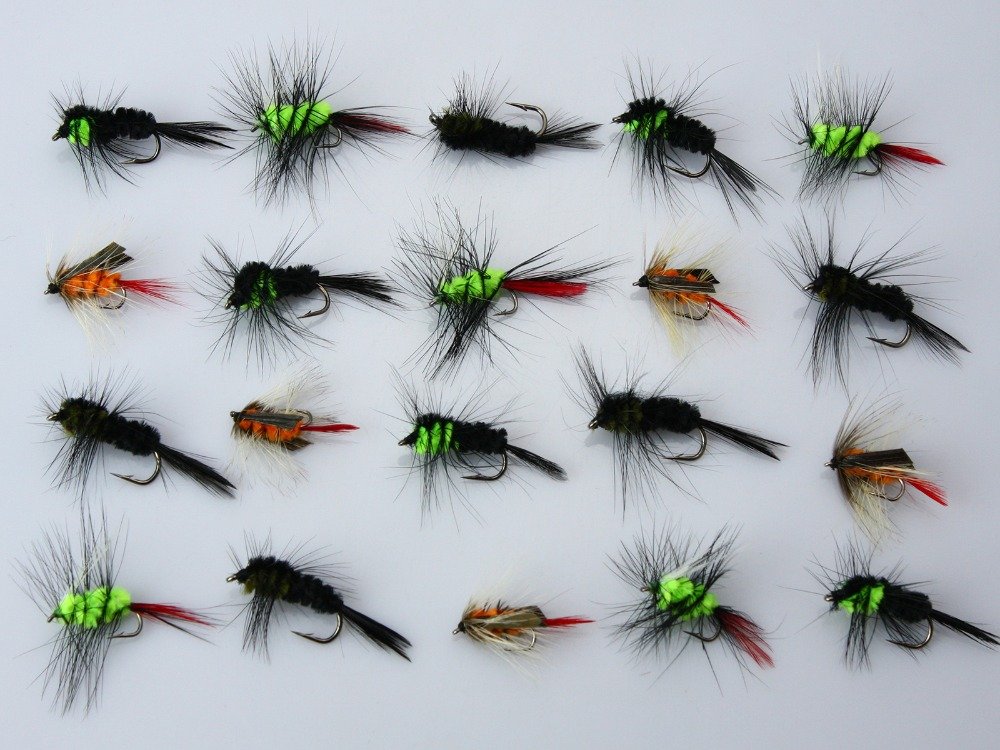 US $17 2 |40Pcs Woolly Worm Montana Stonefly Nymphs Flies  Black/Green/Orange Salmon Trout Fly Fishing Lures-in Fishing Lures from  Sports &