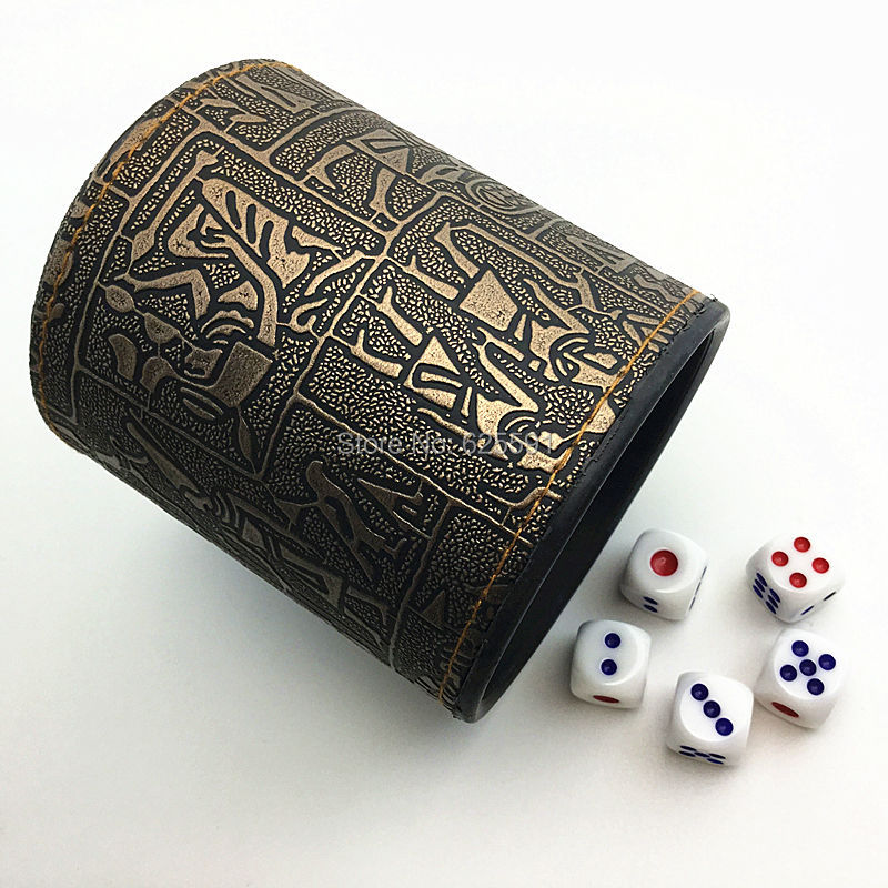T&G High Quality Brown Leather Rune <font><b>Dice</b></font> <font><b>Cup</b></font>+5pcs 14mm White <font><b>Dice</b></font> in customize