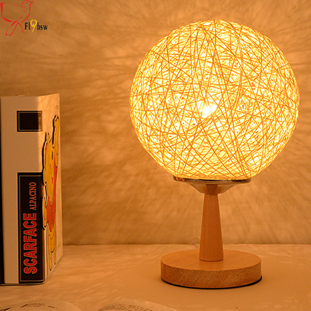 Modern Simple Hemp Rattan Ball Table Lamp,12 Color Dia 20cm Hemp Ball  Lampshade Wood
