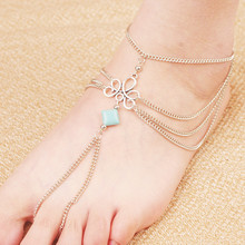 Summer Foot Jewelry  Multi Chain Square Turquoise Slave Toe Beach Tribal Anklet Feet For Gift