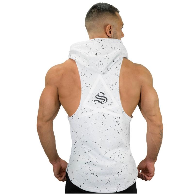 Summer Brand Bodybuilding Stringer Tank Tops Hoodies Sportwear Tanktops Fitness Men Clothing Sleeveless Vests With Hoodie