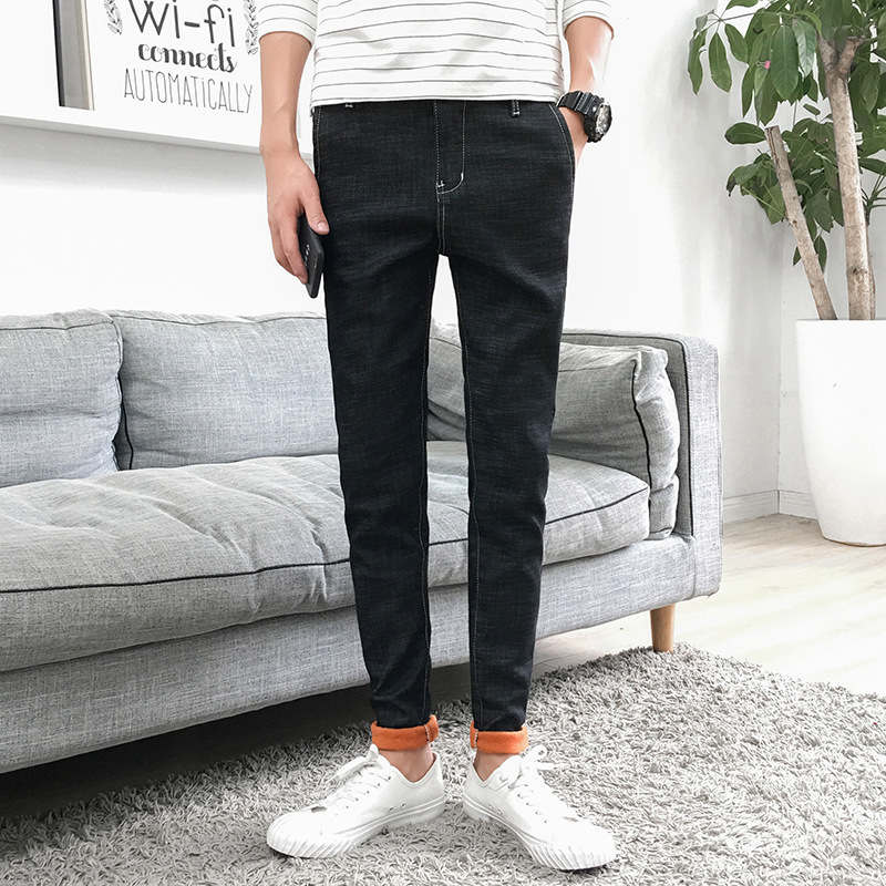 high quality classic fleece jeans men winter thick trousers black blue warm jeans for men stretch denim pants slim male jeans
