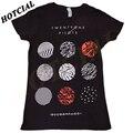 Novo 2016 Vinte E Um Pilotos Blurryface Padrão Círculos Impressão Unisex Preto T-Shirt Gráfico T-shirt de Algodão Top Roupas Casuais