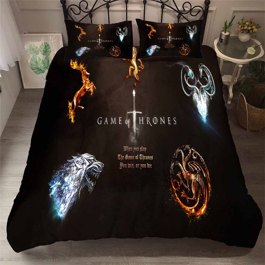 HELENGILI 3D Bedding Set Game Of Thrones Print Duvet Cover Set Bedcloth With Pillowcase Bed Set Home Textiles #GOT-65